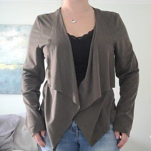 Faux suede open front cardigan